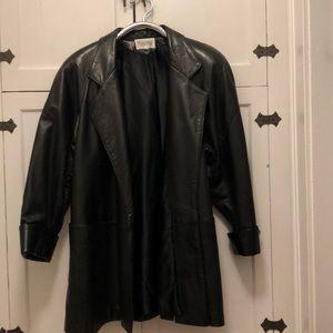 Maxima Black Leather Over Sized Jacket